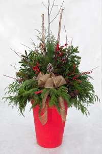 holiday decorated porch pot