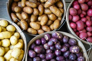 Multicolored Potatoes in Baskets